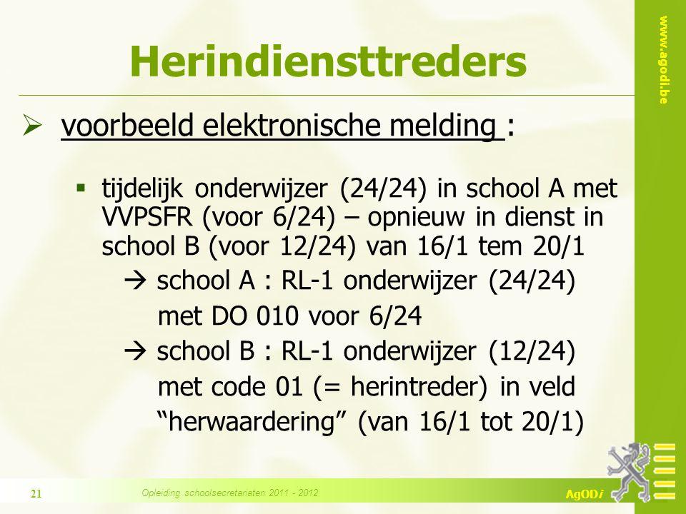 www.agodi.be AgODi Herindiensttreders  voorbeeld elektronische melding :  tijdelijk onderwijzer (24/24) in school A met VVPSFR (voor 6/24) – opnieuw
