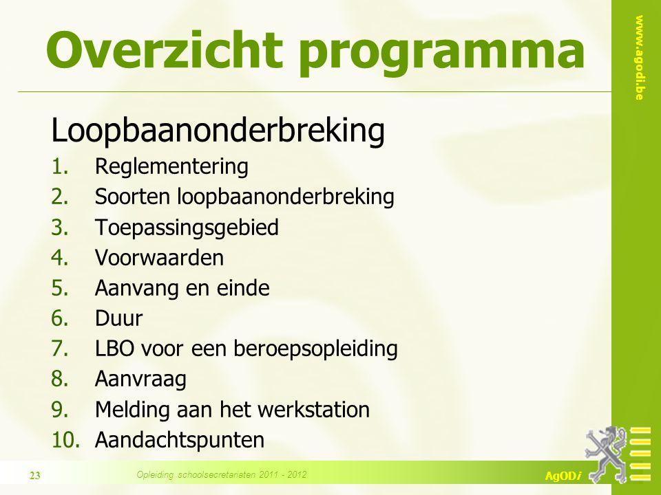 www.agodi.be AgODi Overzicht programma Loopbaanonderbreking 1.Reglementering 2.Soorten loopbaanonderbreking 3.Toepassingsgebied 4.Voorwaarden 5.Aanvan