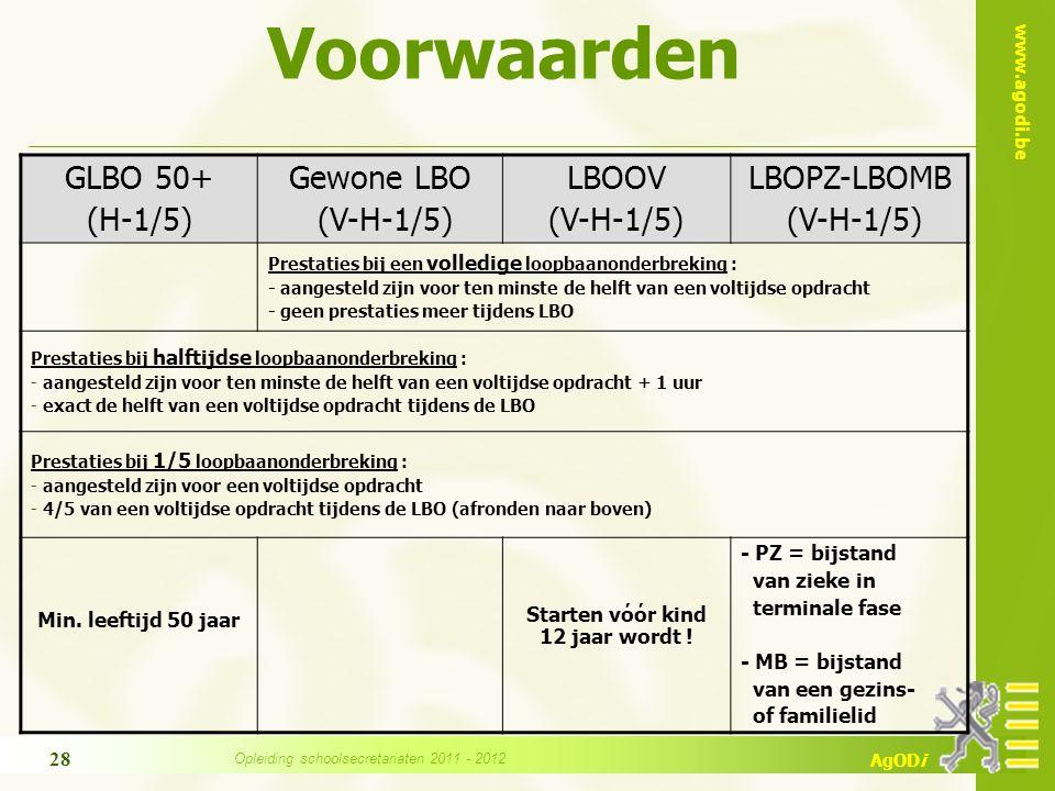 www.agodi.be AgODi Voorwaarden GLBO 50+ (H-1/5) Gewone LBO (V-H-1/5) LBOOV (V-H-1/5) LBOPZ-LBOMB (V-H-1/5) Prestaties bij een volledige loopbaanonderb