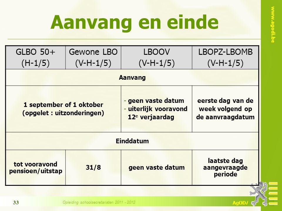 www.agodi.be AgODi Aanvang en einde GLBO 50+ (H-1/5) Gewone LBO (V-H-1/5) LBOOV (V-H-1/5) LBOPZ-LBOMB (V-H-1/5) Aanvang 1 september of 1 oktober (opge