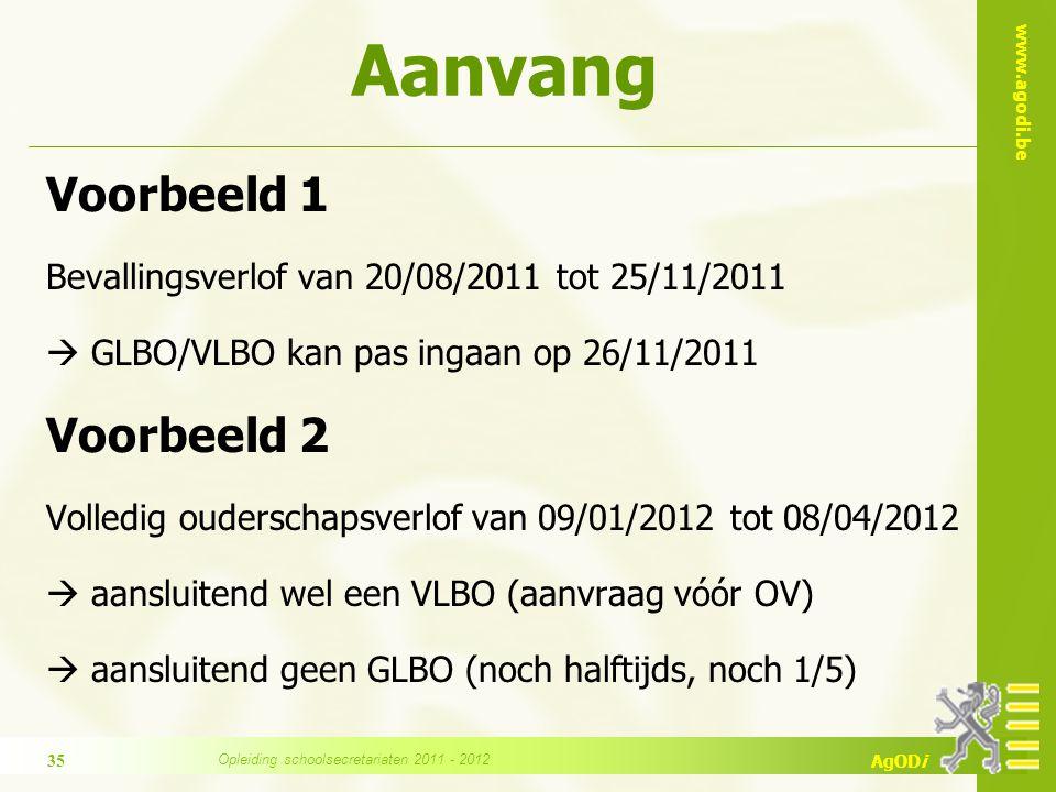 www.agodi.be AgODi Voorbeeld 1 Bevallingsverlof van 20/08/2011 tot 25/11/2011  GLBO/VLBO kan pas ingaan op 26/11/2011 Voorbeeld 2 Volledig ouderschap