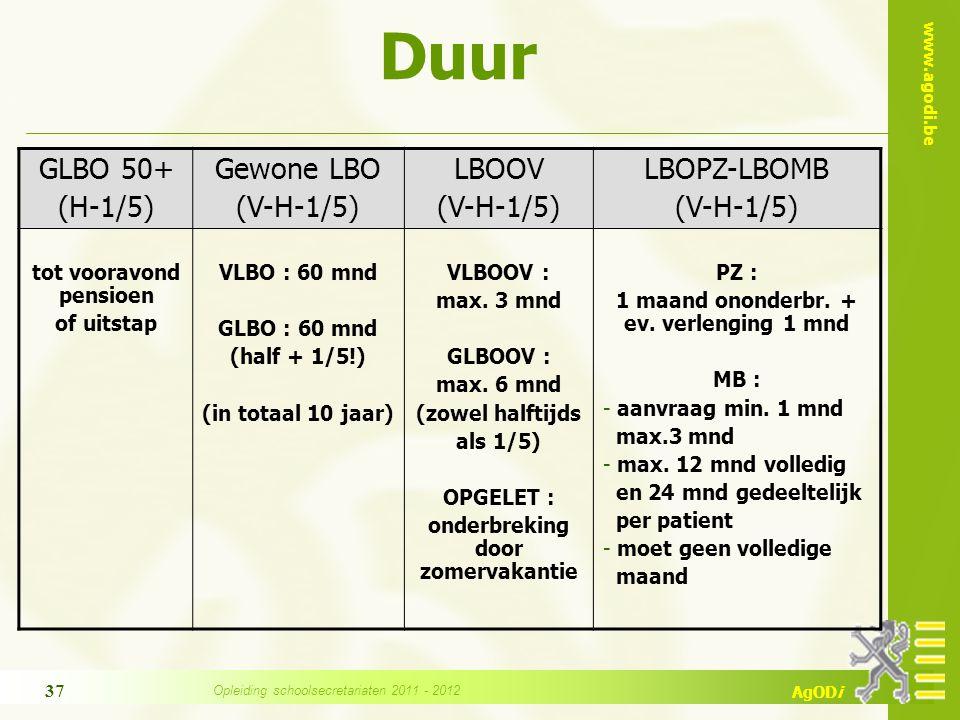 www.agodi.be AgODi Duur GLBO 50+ (H-1/5) Gewone LBO (V-H-1/5) LBOOV (V-H-1/5) LBOPZ-LBOMB (V-H-1/5) tot vooravond pensioen of uitstap VLBO : 60 mnd GL