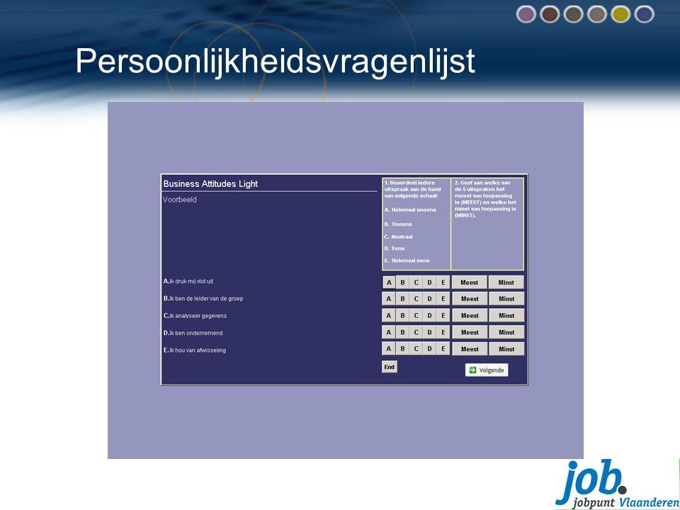 Persoonlijkheidsvragenlijst Voorbeeld van een persoonlijkheidsvragenlijst