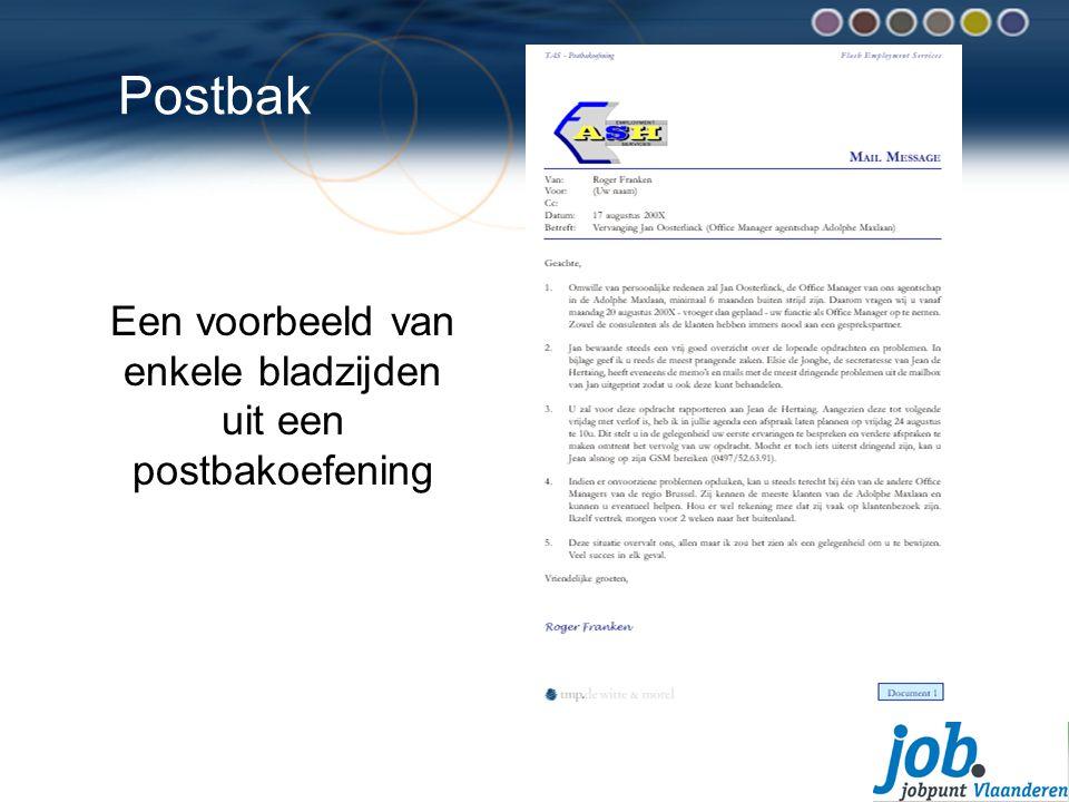 Postbak Een voorbeeld van enkele bladzijden uit een postbakoefening