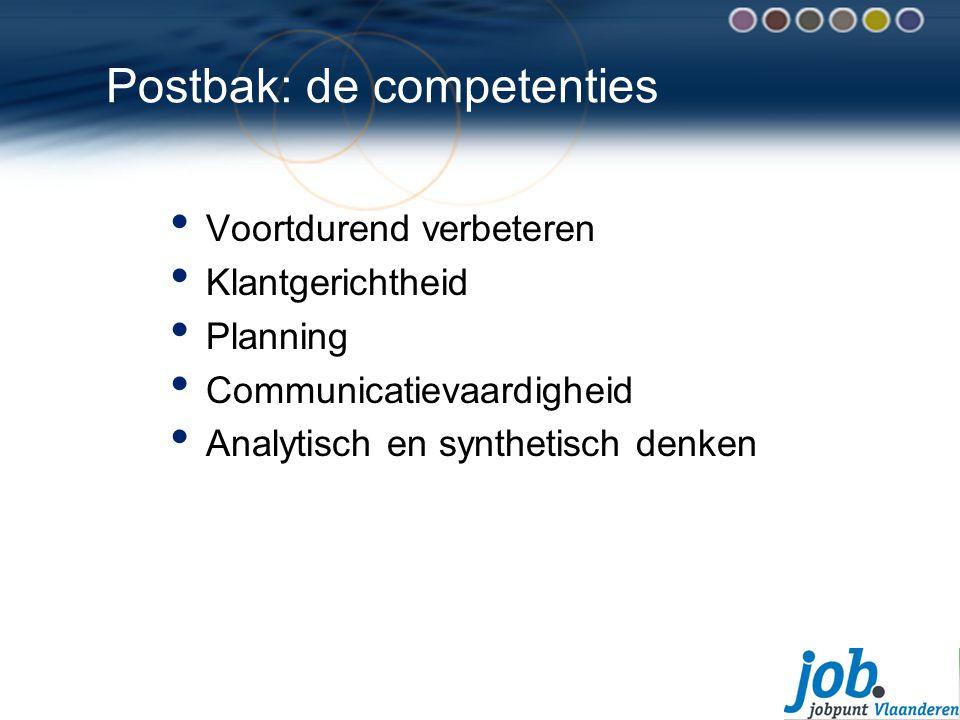 Postbak: de competenties Voortdurend verbeteren Klantgerichtheid Planning Communicatievaardigheid Analytisch en synthetisch denken