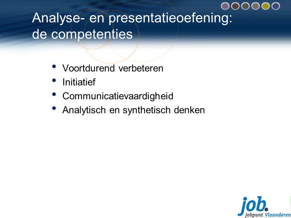 Analyse- en presentatieoefening: de competenties Voortdurend verbeteren Initiatief Communicatievaardigheid Analytisch en synthetisch denken