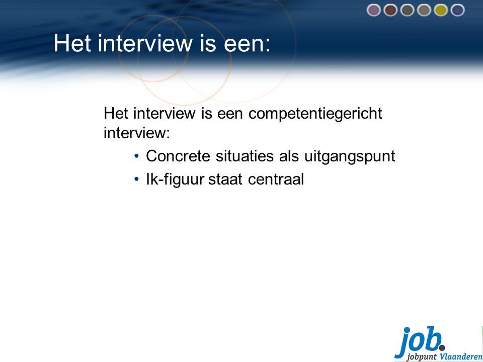 Het interview is een: Het interview is een competentiegericht interview: Concrete situaties als uitgangspunt Ik-figuur staat centraal
