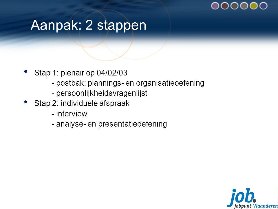 Aanpak: 2 stappen Stap 1: plenair op 04/02/03 - postbak: plannings- en organisatieoefening - persoonlijkheidsvragenlijst Stap 2: individuele afspraak - interview - analyse- en presentatieoefening