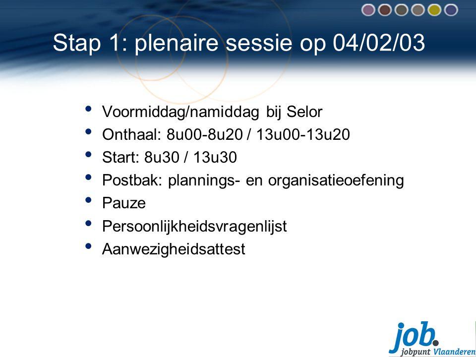 Stap 1: plenaire sessie op 04/02/03 Voormiddag/namiddag bij Selor Onthaal: 8u00-8u20 / 13u00-13u20 Start: 8u30 / 13u30 Postbak: plannings- en organisatieoefening Pauze Persoonlijkheidsvragenlijst Aanwezigheidsattest
