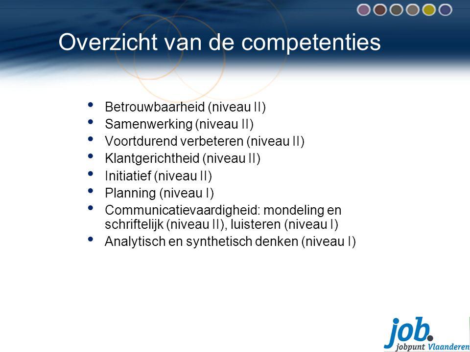 Overzicht van de competenties Betrouwbaarheid (niveau II) Samenwerking (niveau II) Voortdurend verbeteren (niveau II) Klantgerichtheid (niveau II) Initiatief (niveau II) Planning (niveau I) Communicatievaardigheid: mondeling en schriftelijk (niveau II), luisteren (niveau I) Analytisch en synthetisch denken (niveau I)