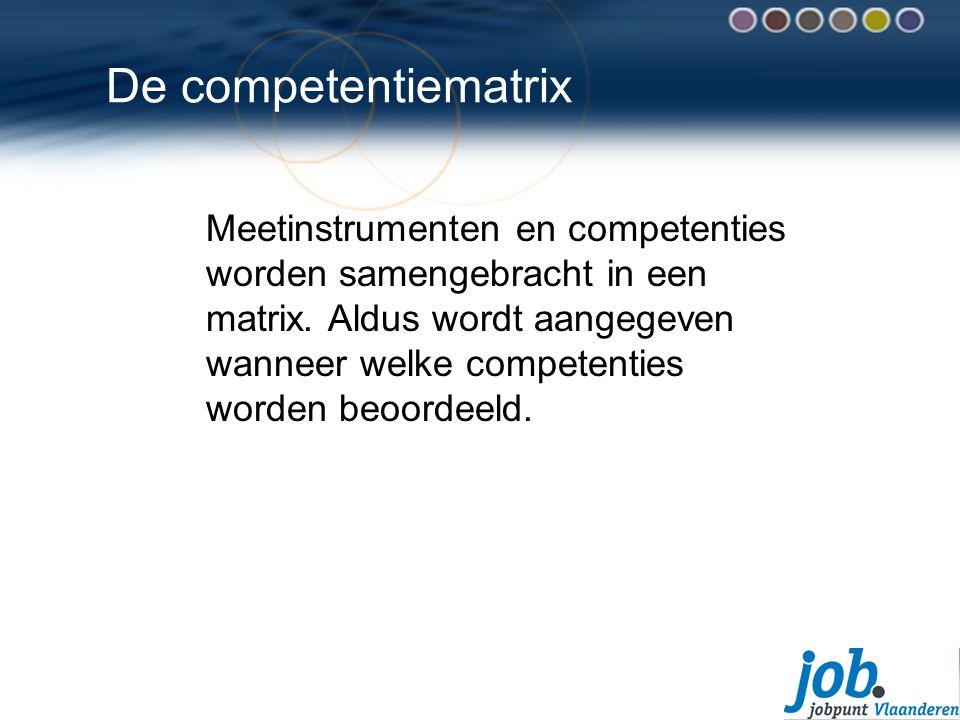 De competentiematrix Meetinstrumenten en competenties worden samengebracht in een matrix.