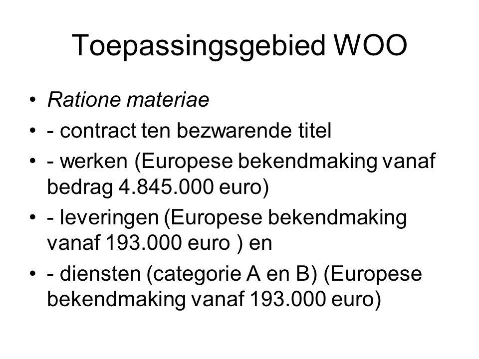 Toepassingsgebied WOO Ratione materiae - contract ten bezwarende titel - werken (Europese bekendmaking vanaf bedrag 4.845.000 euro) - leveringen (Euro