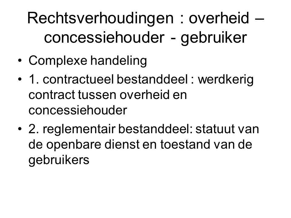 Rechtsverhoudingen : overheid – concessiehouder - gebruiker Complexe handeling 1. contractueel bestanddeel : werdkerig contract tussen overheid en con