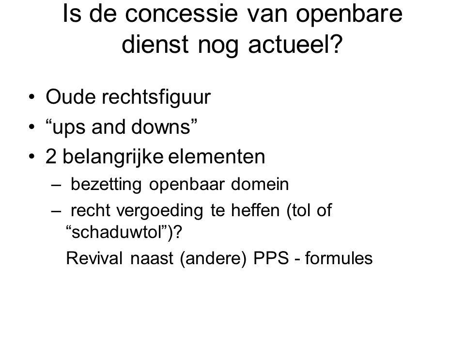 """Is de concessie van openbare dienst nog actueel? Oude rechtsfiguur """"ups and downs"""" 2 belangrijke elementen – bezetting openbaar domein – recht vergoed"""