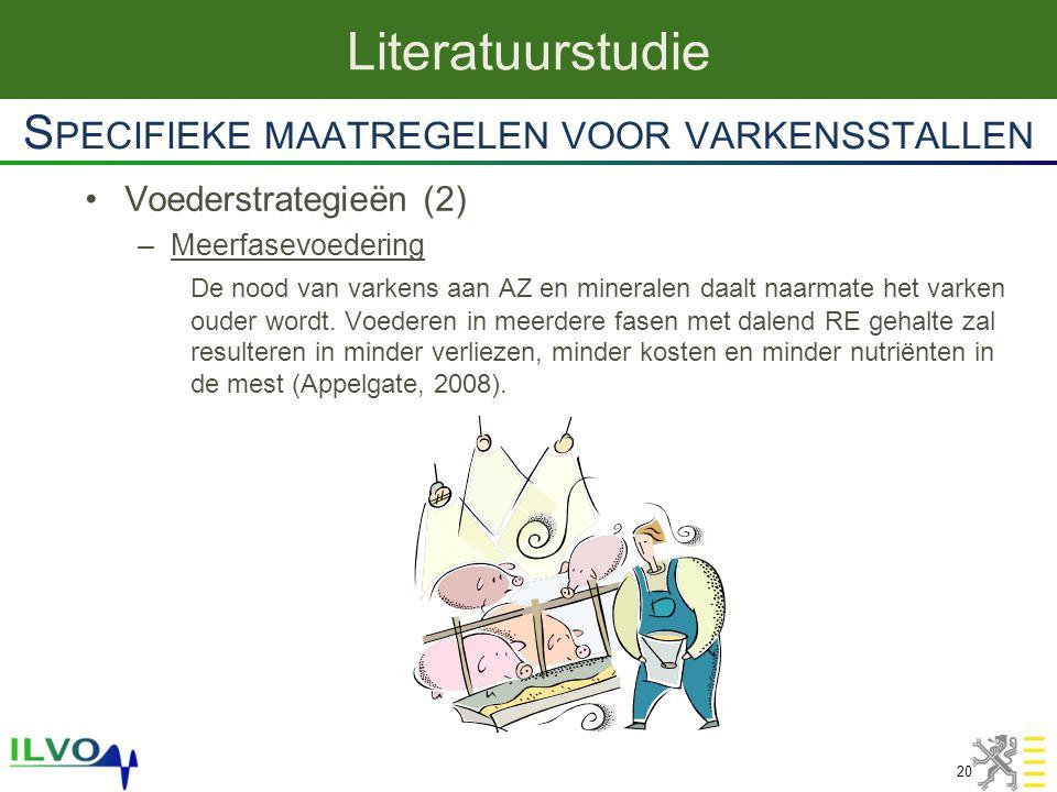 Voederstrategieën (2) –Meerfasevoedering De nood van varkens aan AZ en mineralen daalt naarmate het varken ouder wordt. Voederen in meerdere fasen met