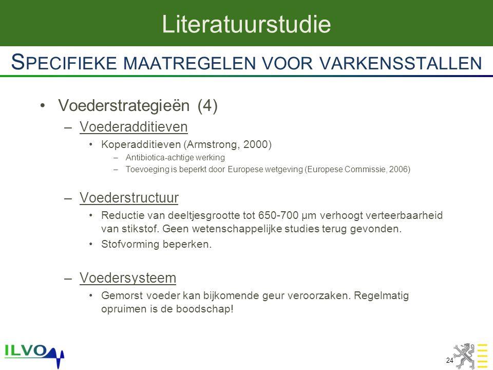Voederstrategieën (4) –Voederadditieven Koperadditieven (Armstrong, 2000) –Antibiotica-achtige werking –Toevoeging is beperkt door Europese wetgeving