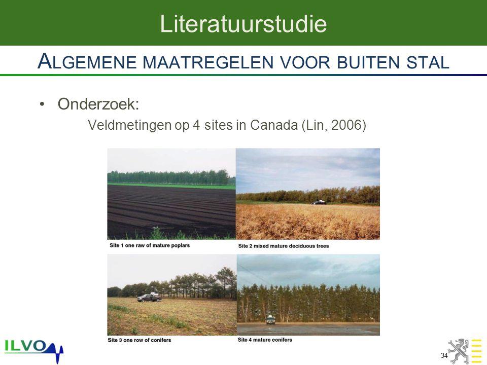 Onderzoek: Veldmetingen op 4 sites in Canada (Lin, 2006) A LGEMENE MAATREGELEN VOOR BUITEN STAL Literatuurstudie 34