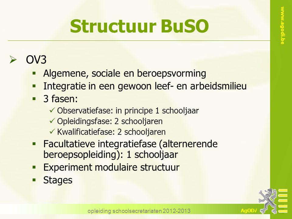 www.agodi.be AgODi opleiding schoolsecretariaten 2012-2013 Structuur BuSO  OV3  Algemene, sociale en beroepsvorming  Integratie in een gewoon leef-