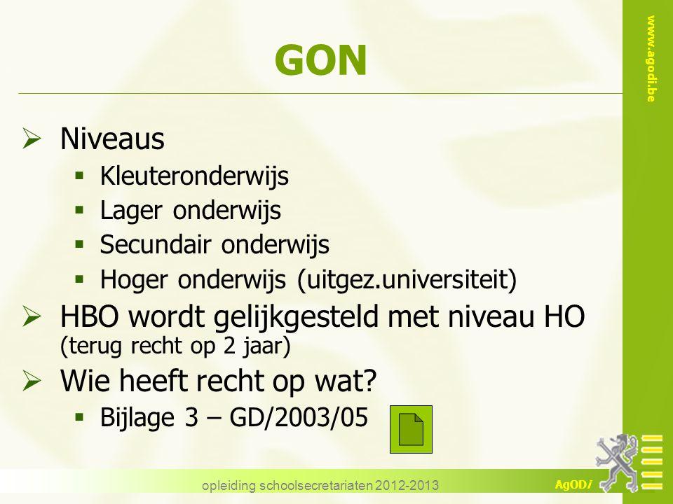 www.agodi.be AgODi opleiding schoolsecretariaten 2012-2013 GON  Niveaus  Kleuteronderwijs  Lager onderwijs  Secundair onderwijs  Hoger onderwijs
