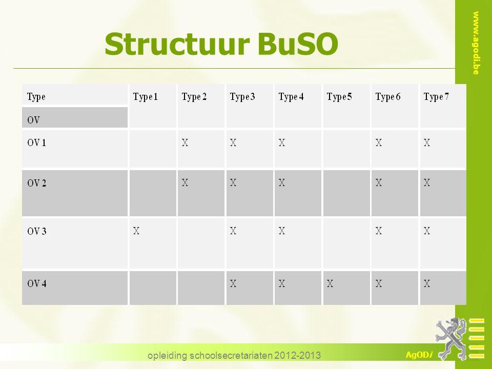 www.agodi.be AgODi opleiding schoolsecretariaten 2012-2013 Structuur BuSO