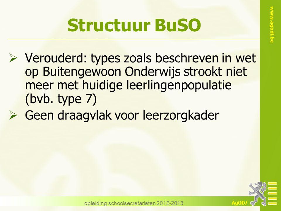 www.agodi.be AgODi opleiding schoolsecretariaten 2012-2013 Structuur BuSO  Verouderd: types zoals beschreven in wet op Buitengewoon Onderwijs strookt