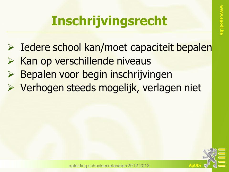 www.agodi.be AgODi Inschrijvingsrecht  Iedere school kan/moet capaciteit bepalen  Kan op verschillende niveaus  Bepalen voor begin inschrijvingen 