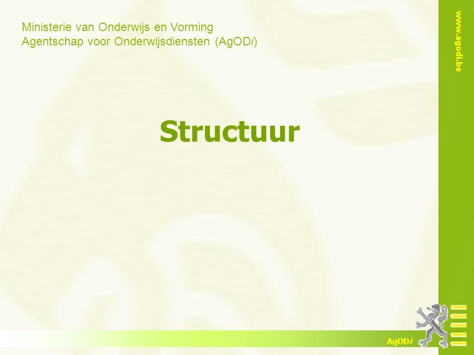 Ministerie van Onderwijs en Vorming Agentschap voor Onderwijsdiensten (AgODi) www.agodi.be AgODi Structuur
