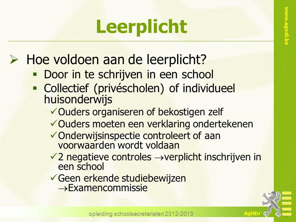 www.agodi.be AgODi opleiding schoolsecretariaten 2012-2013 Leerplicht  Hoe voldoen aan de leerplicht?  Door in te schrijven in een school  Collecti