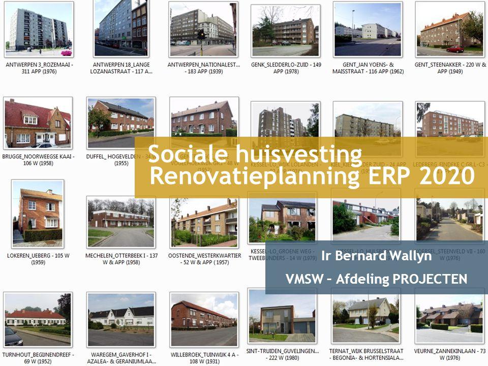 ERP2020 - Sociale Huisvesting Strategische doelstelling Vlaamse Regering In 2020 zijn er in Vlaanderen geen energieverslindende woningen meer Verplicht DAKISOLATIEBEGLAZINGVERWARMING Aanmoedigen BUITENISOLATIE SPOUWMUUR- EN VLOERISOLATIE VERVANGEN WEERSTANDS- VERWARMING Ontmoedigen WEERSTANDS- VERWARMING KOELING Gevolgen voor patrimonium sociale huisvesting .