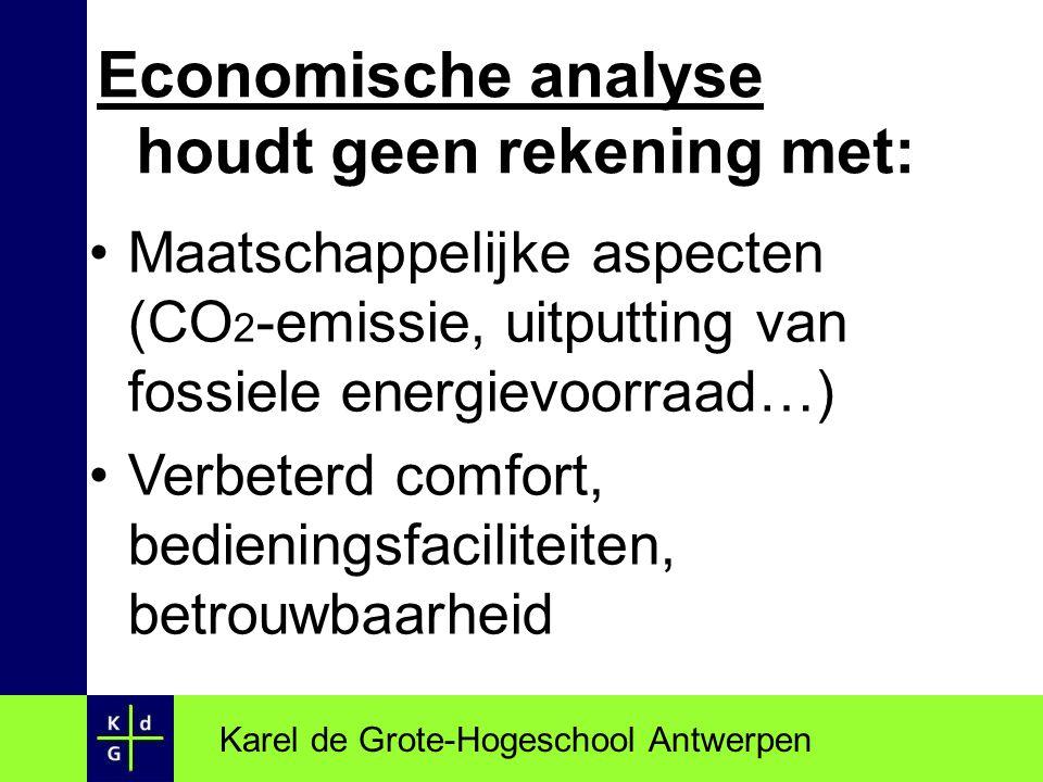 Karel de Grote-Hogeschool Antwerpen Economische analyse houdt geen rekening met: Maatschappelijke aspecten (CO 2 -emissie, uitputting van fossiele ene