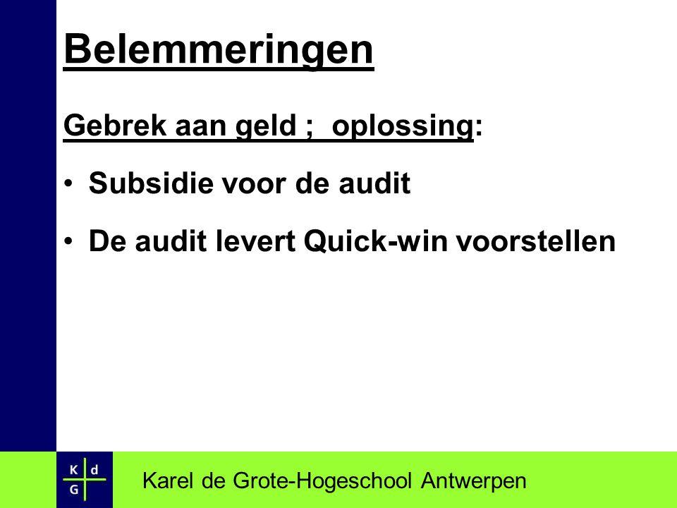 Gebrek aan geld ; oplossing: Subsidie voor de audit De audit levert Quick-win voorstellen Karel de Grote-Hogeschool Antwerpen Belemmeringen