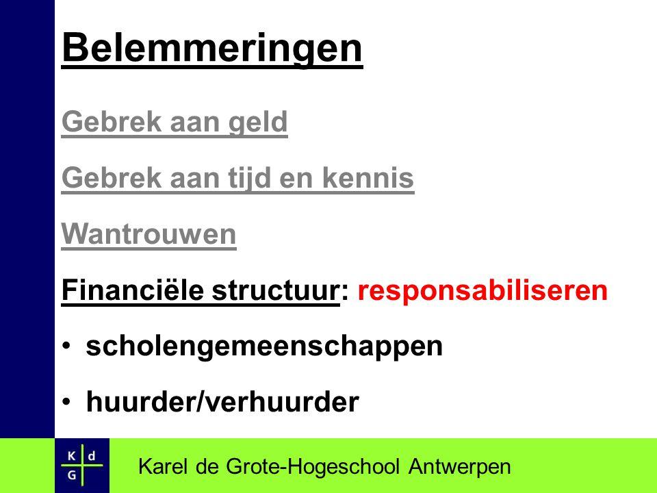 Gebrek aan geld Gebrek aan tijd en kennis Wantrouwen Financiële structuur: responsabiliseren scholengemeenschappen huurder/verhuurder Karel de Grote-H