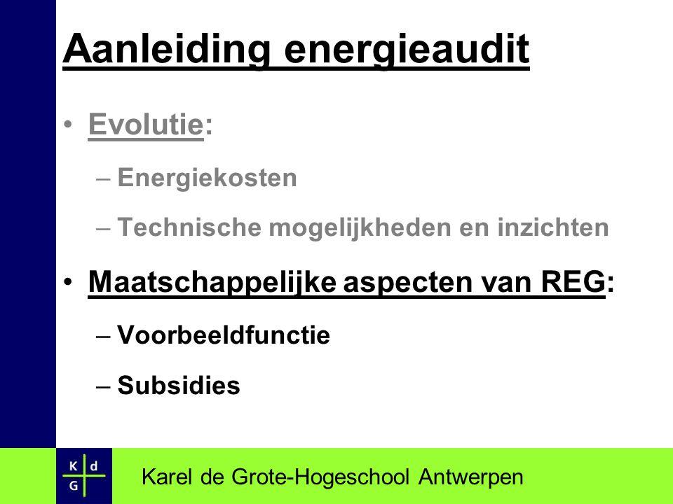 Evolutie: –Energiekosten –Technische mogelijkheden en inzichten Maatschappelijke aspecten van REG: –Voorbeeldfunctie –Subsidies Karel de Grote-Hogesch