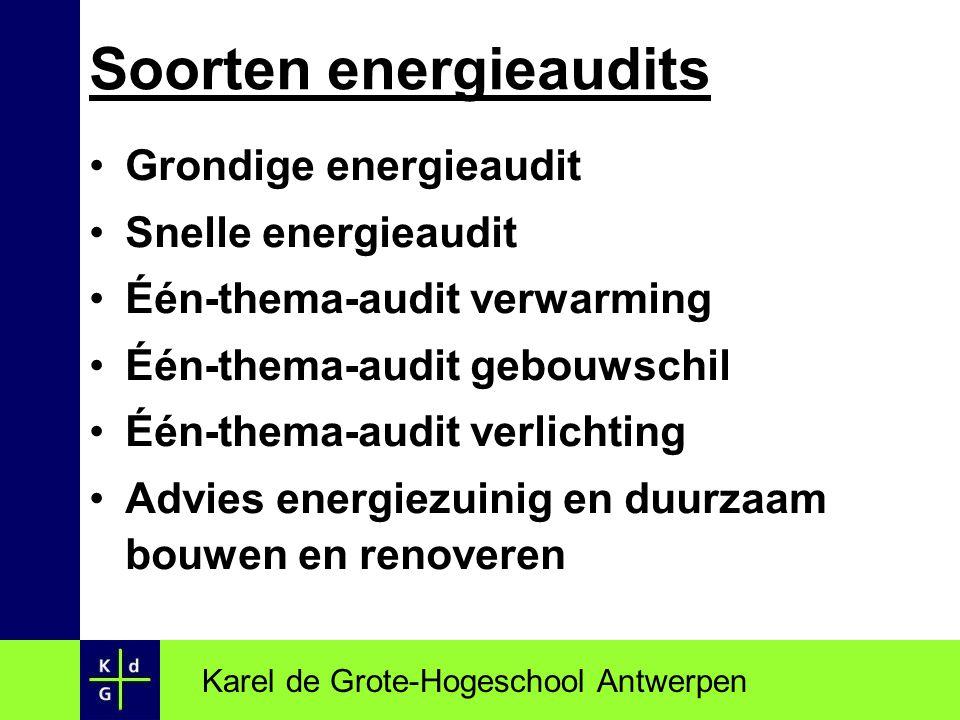 Grondige energieaudit Snelle energieaudit Één-thema-audit verwarming Één-thema-audit gebouwschil Één-thema-audit verlichting Advies energiezuinig en d
