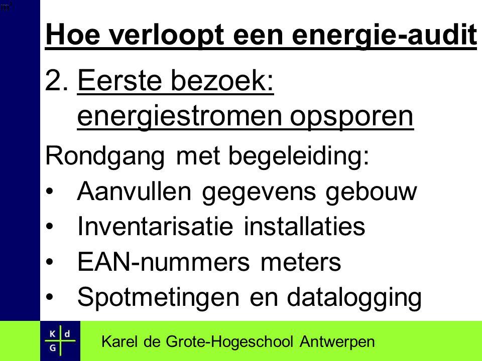 Hoe verloopt een energie-audit 2.Eerste bezoek: energiestromen opsporen Rondgang met begeleiding: Aanvullen gegevens gebouw Inventarisatie installatie