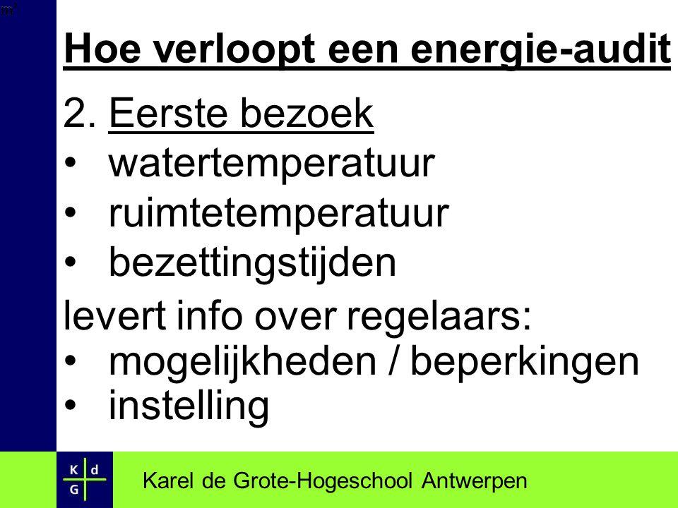 Hoe verloopt een energie-audit 2.Eerste bezoek watertemperatuur ruimtetemperatuur bezettingstijden levert info over regelaars: mogelijkheden / beperki