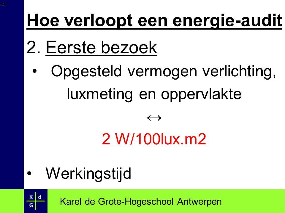 Hoe verloopt een energie-audit 2.Eerste bezoek Opgesteld vermogen verlichting, luxmeting en oppervlakte ↔ 2 W/100lux.m2 Werkingstijd Karel de Grote-Ho