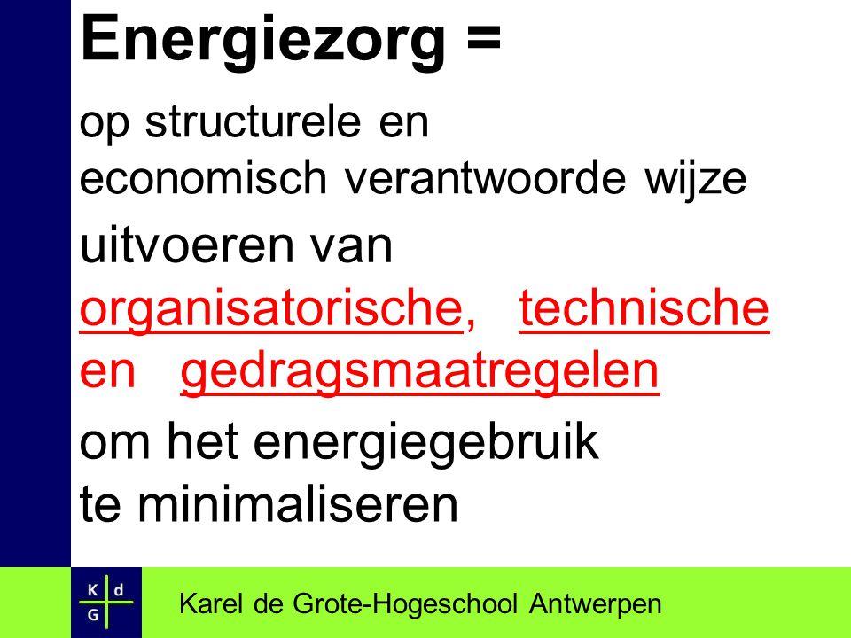 Energiezorg: Karel de Grote-Hogeschool Antwerpen Besparing tijdslijn HUIDIG ENERGIE- VERBRUIK VERMINDERD ENERGIE- VERBRUIK Analyse Audit  Enginering Realisatie Optimalisatie Bewaking E boekhouding Monitoring Energie