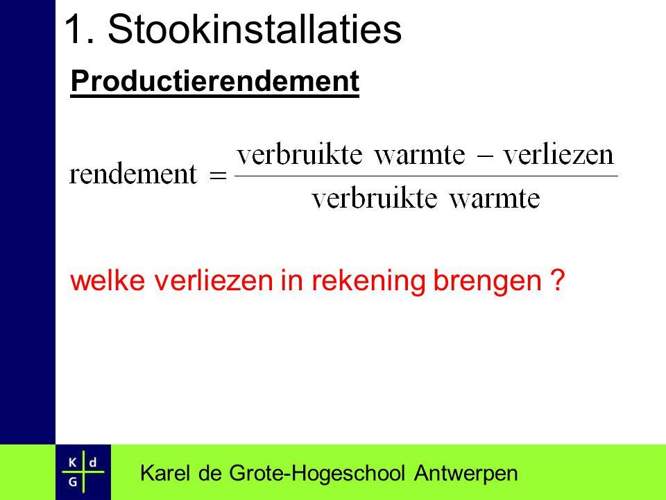 1. Stookinstallaties Productierendement welke verliezen in rekening brengen ? Karel de Grote-Hogeschool Antwerpen