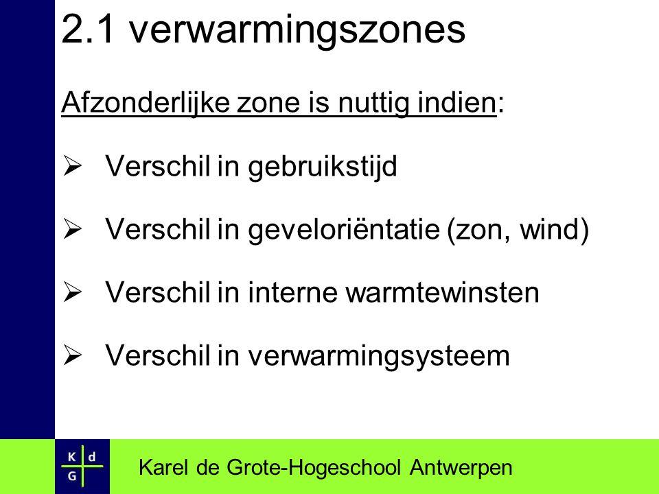 2.1 verwarmingszones Afzonderlijke zone is nuttig indien:  Verschil in gebruikstijd  Verschil in geveloriëntatie (zon, wind)  Verschil in interne w
