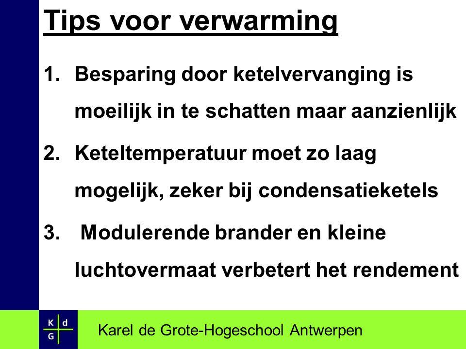 Tips voor verwarming 1.Besparing door ketelvervanging is moeilijk in te schatten maar aanzienlijk 2.Keteltemperatuur moet zo laag mogelijk, zeker bij