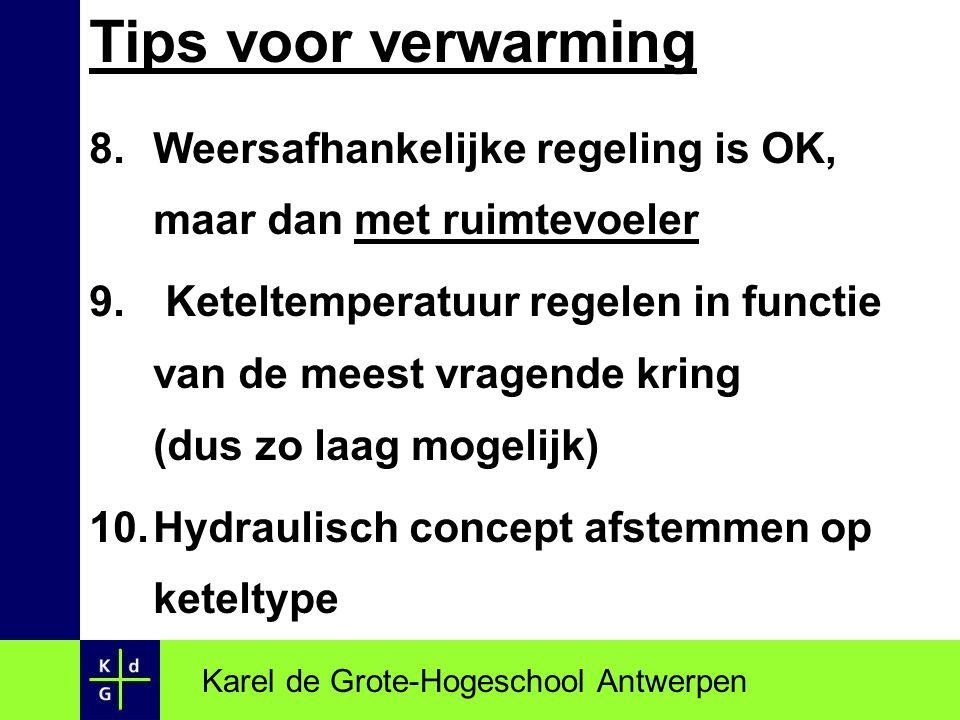 Tips voor verwarming 8.Weersafhankelijke regeling is OK, maar dan met ruimtevoeler 9. Keteltemperatuur regelen in functie van de meest vragende kring