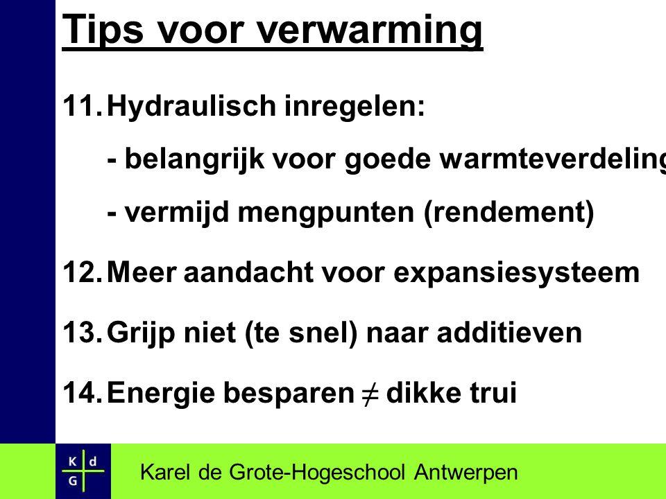 Tips voor verwarming 11.Hydraulisch inregelen: - belangrijk voor goede warmteverdeling - vermijd mengpunten (rendement) 12.Meer aandacht voor expansie