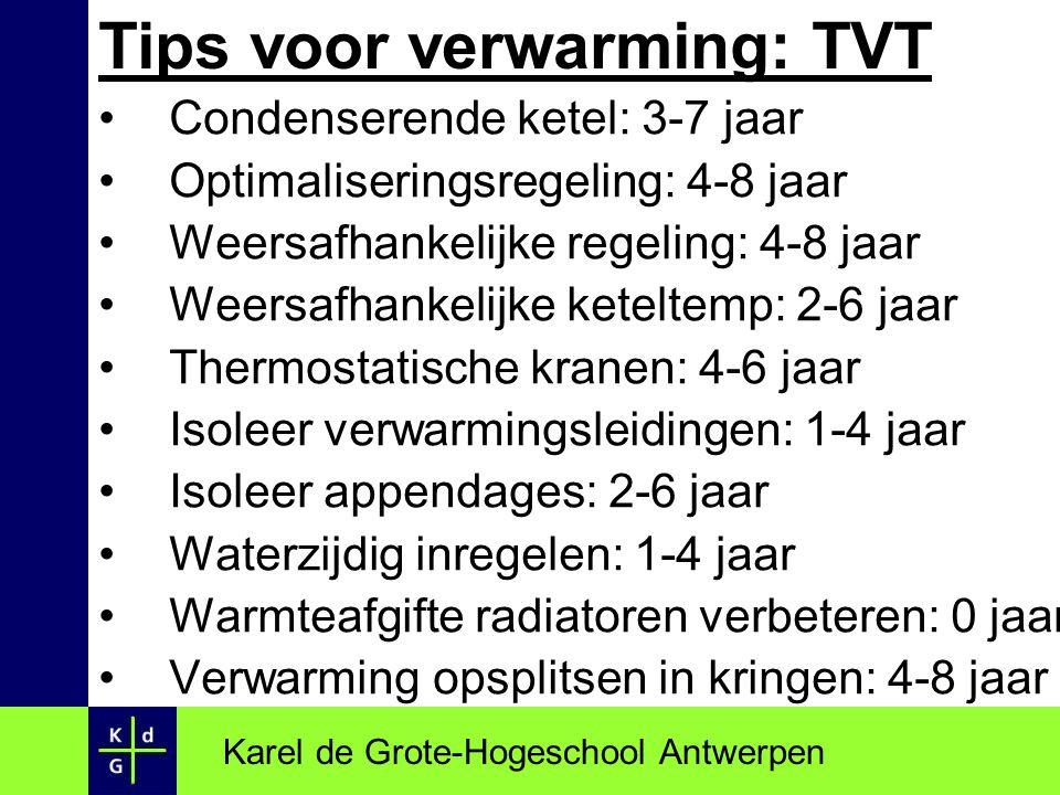 Tips voor verwarming: TVT Condenserende ketel: 3-7 jaar Optimaliseringsregeling: 4-8 jaar Weersafhankelijke regeling: 4-8 jaar Weersafhankelijke ketel