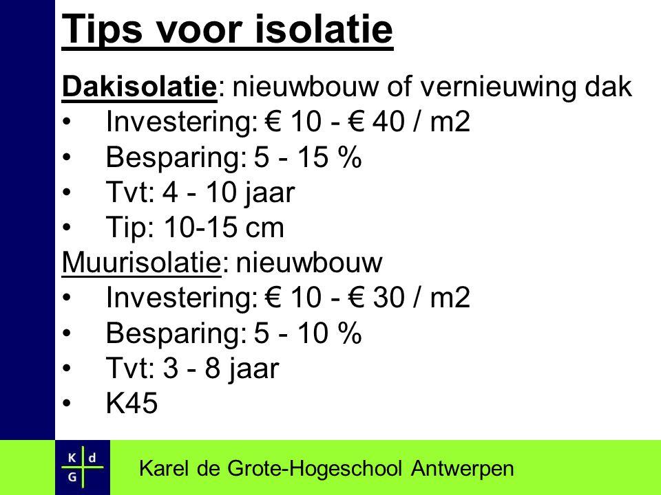 Tips voor isolatie Dakisolatie: nieuwbouw of vernieuwing dak Investering: € 10 - € 40 / m2 Besparing: 5 - 15 % Tvt: 4 - 10 jaar Tip: 10-15 cm Muurisol