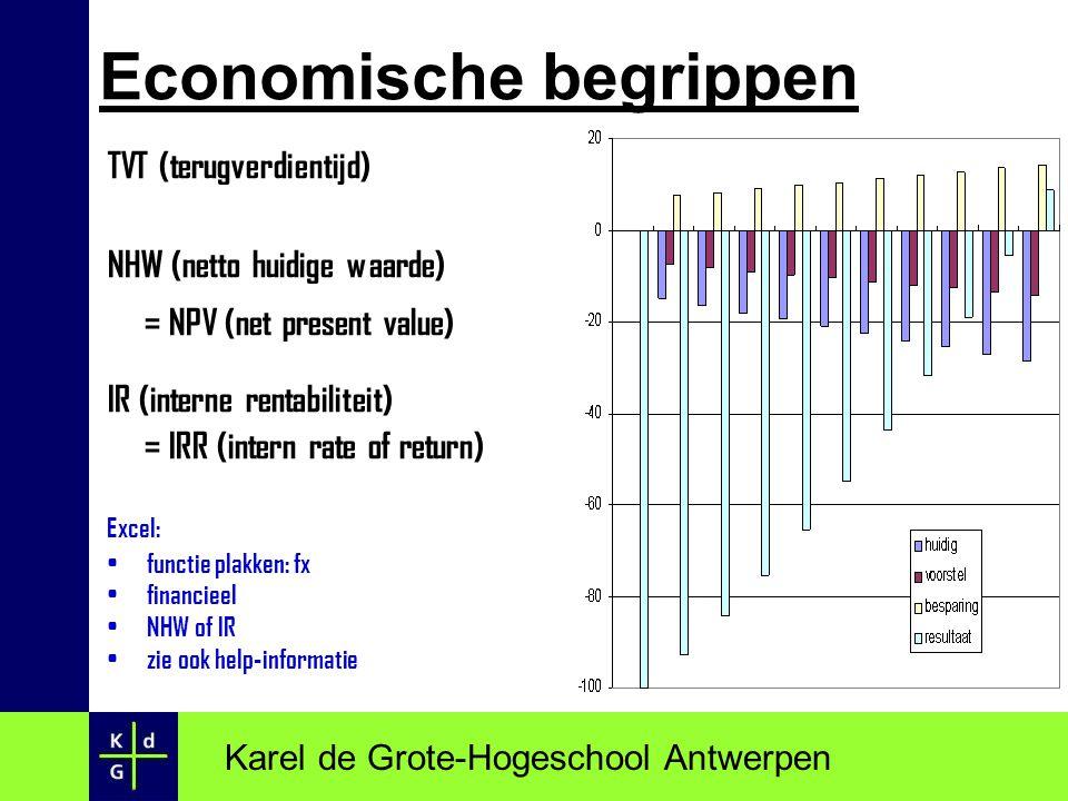 TVT (terugverdientijd) NHW (netto huidige waarde) = NPV (net present value) IR (interne rentabiliteit) = IRR (intern rate of return) Excel: functie pl