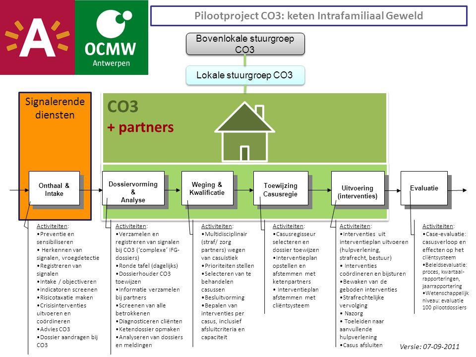 Signalerende diensten CO3 + partners CO3 + partners Evaluatie Uitvoering (interventies) Toewijzing Casusregie Toewijzing Casusregie Weging & Kwalificatie Weging & Kwalificatie Dossiervorming & Analyse Dossiervorming & Analyse Onthaal & Intake Pilootproject CO3: keten Intrafamiliaal Geweld Lokale stuurgroep CO3 Bovenlokale stuurgroep CO3 Versie: 07-09-2011 Activiteiten: Preventie en sensibiliseren Herkennen van signalen, vroegdetectie Registreren van signalen Intake / objectiveren Indicatoren screenen Risicotaxatie maken Crisisinterventies uitvoeren en coördineren Advies CO3 Dossier aandragen bij CO3 Activiteiten: Verzamelen en registreren van signalen bij CO3 ('complexe' IFG- dossiers) Ronde tafel (dagelijks) Dossierhouder CO3 toewijzen Informatie verzamelen bij partners Screenen van alle betrokkenen Diagnosticeren cliënten Ketendossier opmaken Analyseren van dossiers en meldingen Activiteiten: Multidisciplinair (straf/ zorg partners) wegen van casuïstiek Prioriteiten stellen Selecteren van te behandelen casussen Besluitvorming Bepalen van interventies per casus, inclusief afsluitcriteria en capaciteit Activiteiten: Casusregisseur selecteren en dossier toewijzen Interventieplan opstellen en afstemmen met ketenpartners Interventieplan afstemmen met cliëntsysteem Activiteiten: Interventies uit interventieplan uitvoeren (hulpverlening, strafrecht, bestuur) Interventies coördineren en bijsturen Bewaken van de geboden interventies Strafrechtelijke vervolging Nazorg Toeleiden naar aanvullende hulpverlening Casus afsluiten Activiteiten: Case-evaluatie: casusverloop en effecten op het cliëntsysteem Beleidsevaluatie: proces, kwartaal- rapporteringen, jaarrapportering Wetenschappelijk niveau: evaluatie 100 pilootdossiers