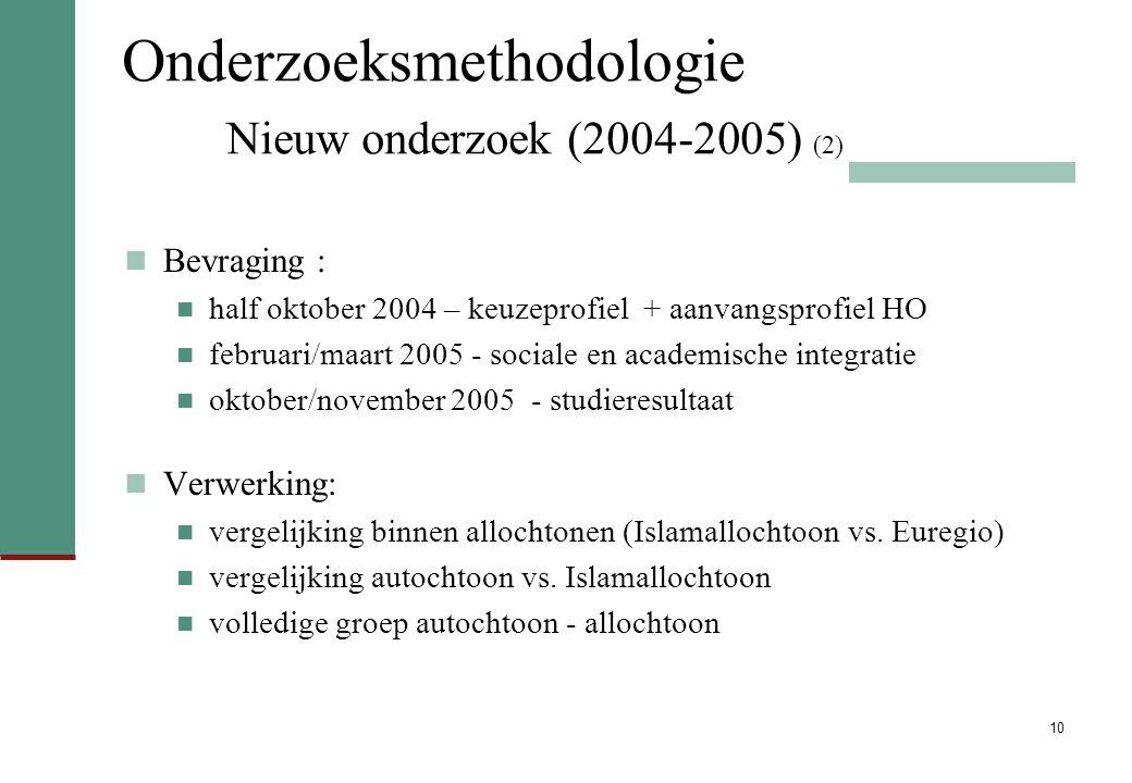 10 Onderzoeksmethodologie Nieuw onderzoek (2004-2005) (2) Bevraging : half oktober 2004 – keuzeprofiel + aanvangsprofiel HO februari/maart 2005 - soci