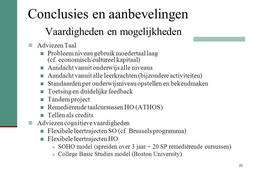20 Conclusies en aanbevelingen Vaardigheden en mogelijkheden Adviezen Taal Probleem niveau gebruik moedertaal laag (cf. economisch/cultureel kapitaal)