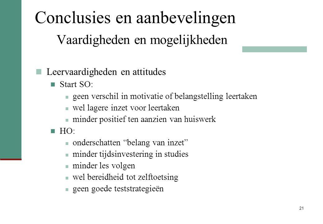 21 Conclusies en aanbevelingen Vaardigheden en mogelijkheden Leervaardigheden en attitudes Start SO: geen verschil in motivatie of belangstelling leer